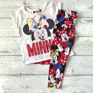Disney Girls 2T Minnie Mouse Outfit Leggings Top